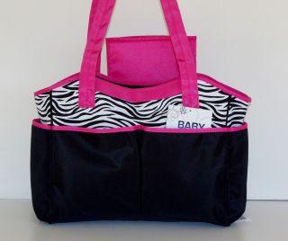Baby Essentials 2 Pc Diaper Tote Set Black w Zebra Stripes & Fuchsia
