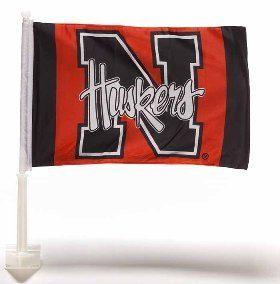 NCAA Football Two Sided Car Flag Nebraska Huskers Wall