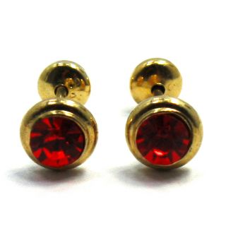 GF Earrings Red Austrian Crystal Round Bezel Baby Girl Safety Stud 6mm