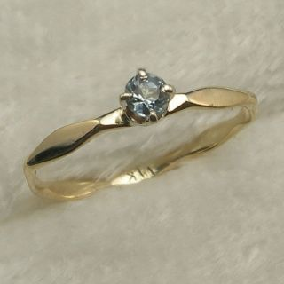 Aquamarine Baby Ring Hand Crafted 14k Yellow Gold March Birthstone