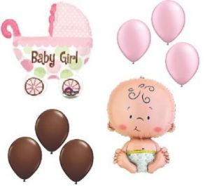 Baby Shower Balloons Welcome Girl Chocolate Pink Buggy