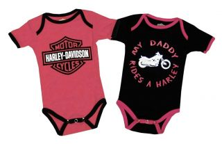 Davidson Motorcycles Two Piece Pink Baby Snapsuit Creeper Romper Set