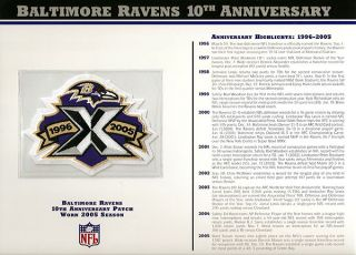 2005 Baltimore Ravens NFL Football 10th Year Patch