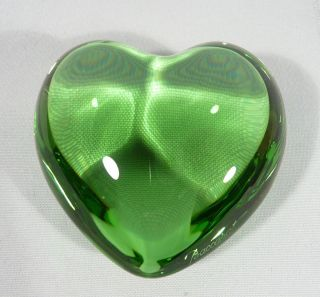 Baccarat Emerald Green Crystal Puff Heart Paperweight Signed Unusual