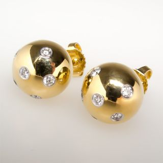 Co Etoile Ball Earrings Diamond Studs Solid 18K Gold Designer Jewelry