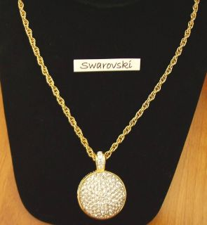 Signed Swarovski Disco Ball Necklace Pendant