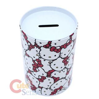 Sanrio Hello Kitty Coin Bank Pencil Tin Case Face Bow
