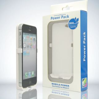 External Battery Power Pack Bank Case for iPhone 5g White