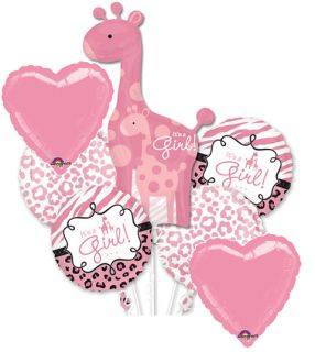 SWEET SAFARI GIRAFFE GIRL BABY SHOWER BALLOONS DECORATION SUPPLIES