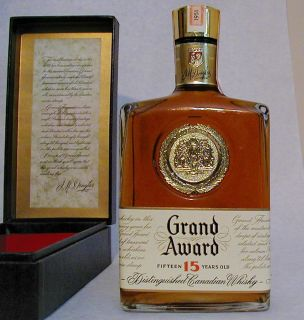 Grand Award 15 Year Old Canadian Whisky sealed tax stamp dated 1951 in