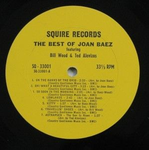 1962 Folk LP The Best of Joan Baez Squire Records Sq 33001 Alevizos