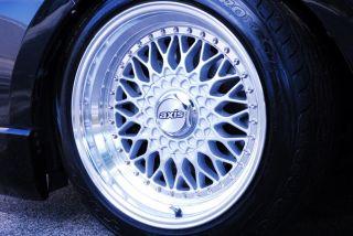 17x8 5 4x100 ET15 Axis Klassic Black and Silver Polish Lip Wheels Rims