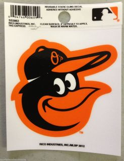 Baltimore Orioles 3 x 4 Small Static Cling Truck Car Window Decal NEW