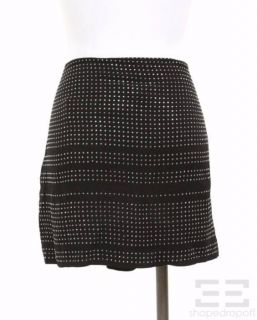 Max Azria Black Silk & Silver Studded Mini Skirt Size 10 NEW