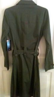 Polo Womens Trench Coat Denim Dress Military Green