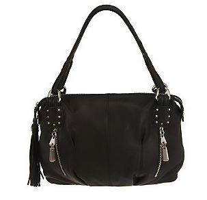 Makowsky *Naomi* Satchel handbag purse in Black Leather FREE