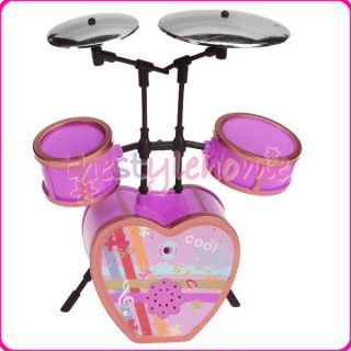 Cute Shocking Pink Drum Set For Barbie Doll Nice Gift For Your Child