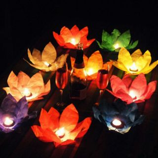 10x 8 Color Flower Lotus Lanterns Chinese Wishing Floating Water Light