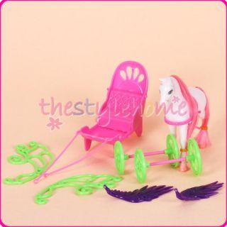 Vivid Barbie Sister Kelly Doll Pegasus Carriage Detachable Smart and