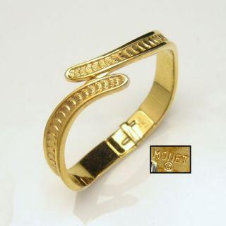 Monet Vintage Bangle Bracelet Sea Shell Goldtone Bypass Hinged Small