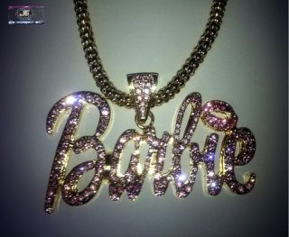 Nicki Minaj Hip Hop Barbie Iced Out Necklace Gold Pink New