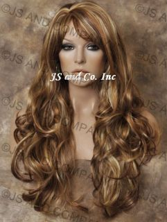 Layered Long Wavy Stunning Red Blonde Mix Wig with Bangs