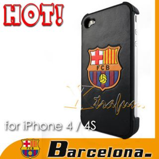 BARCELONA FC GENUINE LEATHER CASE FOR APPLE IPHONE 4 4S 4G BLACK NIB