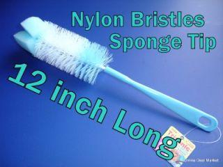 Blue Baby Boy Bottle Cleaning Brush Bristle Soft Sponge