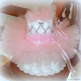 Tutu Diaper Cake Baby Shower Centerpiece Pink Girl Princess 1st