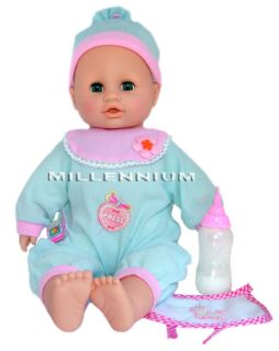 Feeding Baby Doll Bottle Bib Girls Toy Pink Dolls Clothes 41cm