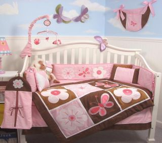 Pink Brown Floral Garden Baby Crib Bedding 13 Pcs Set Included Diaper