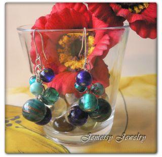 Vintage Style Blue Green Balls Beads Dangle Earrings