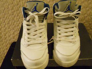 Nike Air Jordan 5 V Retro White Royal Blue Stealth Sz 9