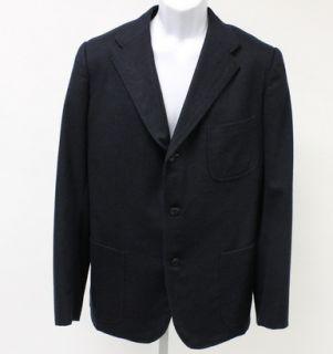 Bamford Sons Mens Navy Wool Cashmere Three Button Pouch Pocket Blazer