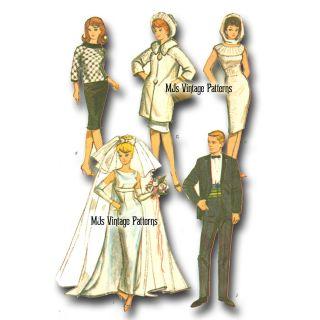 Barbie Ken Vtg 60s Doll Clothes Pattern Wedding Dress Tux Huge