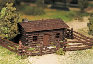 Scale Model Railroad Trains Layout Bachmann Plasticville Log Cabin
