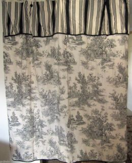 Waverly French Country Life Toile Black Cream w Striped Valance Cotton