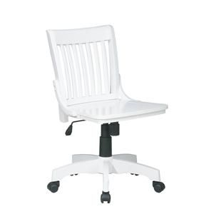 Deluxe Armless Wood Bankers Chair with Wood Seat White