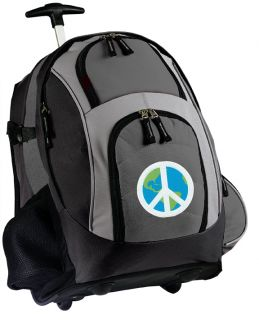 Peace Sign Rolling Backpack Best Wheeled School Bags Peace Carryon