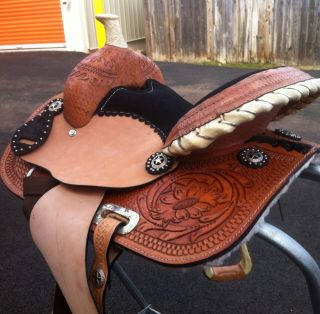 12 Barrel Racing Saddle Hand Tooled and Carved Headstall