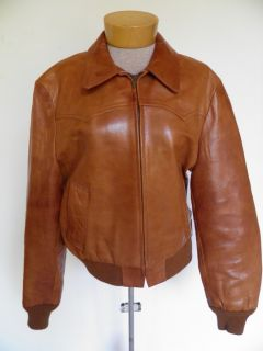 Vtg Brown William Barry Leather Military Flight Jacket Bomber Coat M