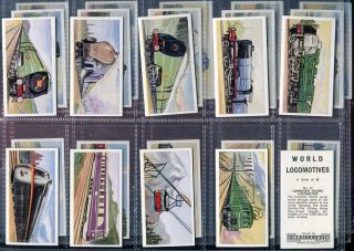 Trade Card Set, Barratt, WORLD LOCOMOTIVES, Train, Railroad, 1961