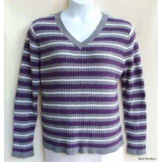 Croft & Barrow Sz XL V Neck Nylon Blend Gray Purple White Striped