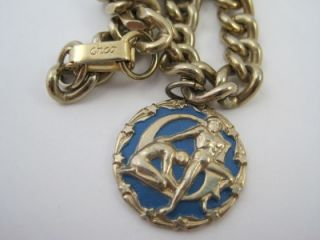Vintage Signed Enco Enamel Man Greek God Charm Bracelet