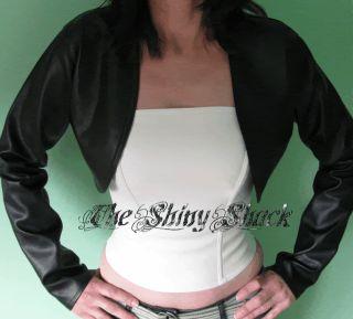 Black Faux Leather Shrug Jacket Bolero BNWT All Sizes