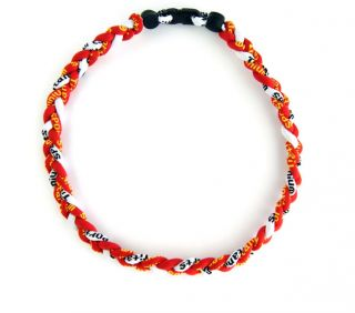 Ropes Tornado Ionic Titanium Baseball Sport Necklace Red&Red&White 20