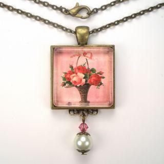 Pink Red Rose Flower Basket Vintage Charm Art Glass Pendant Brass