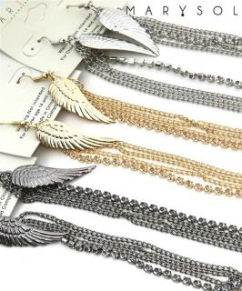 Basketball Wives Inspired Long Angel Wings Silver Chain Earrings