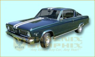 1966 Plymouth Barracuda Stencil Vinyl Decal Stripe Kit