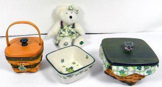 Longaberger Lucky Twist Pottery Baskets Bear